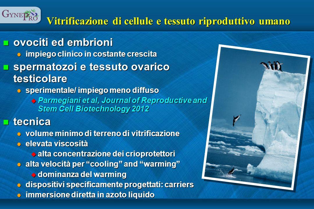 Vitrificazione di cellule e tessuto riproduttivo umano n ovociti ed embrioni l impiego clinico in costante crescita n spermatozoi e tessuto ovarico te