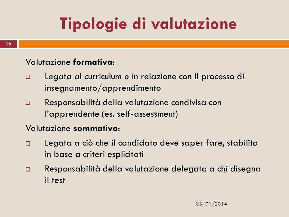 03/01/2014 13 Tipologie di valutazione Valutazione formativa: Legata al curriculum e in relazione con il processo di insegnamento/apprendimento Respon