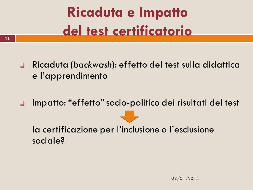 Ricaduta e Impatto del test certificatorio Ricaduta (backwash): effetto del test sulla didattica e lapprendimento Impatto: effetto socio-politico dei