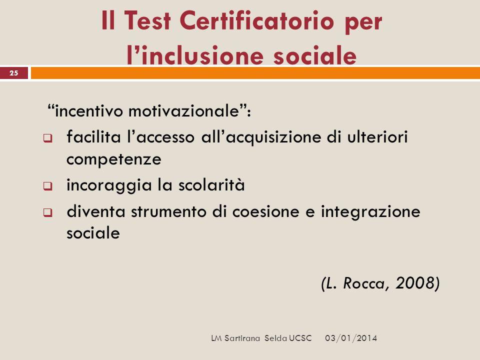 03/01/2014 25 Il Test Certificatorio per linclusione sociale incentivo motivazionale: facilita laccesso allacquisizione di ulteriori competenze incora