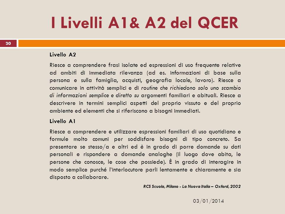 I Livelli A1& A2 del QCER Livello A2 Riesce a comprendere frasi isolate ed espressioni di uso frequente relative ad ambiti di immediata rilevanza (ad