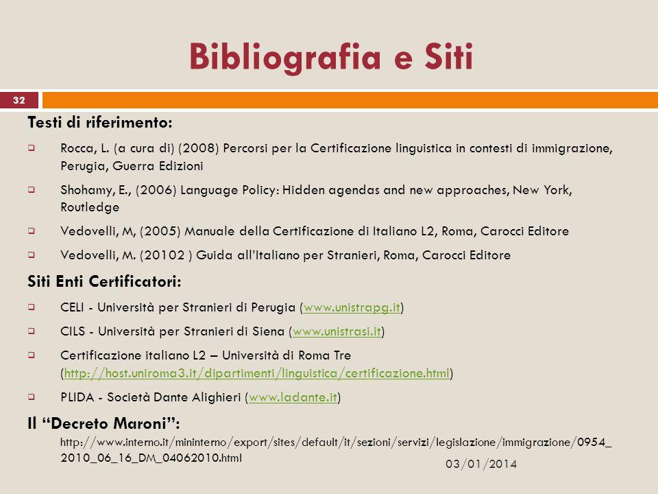 32 Bibliografia e Siti Testi di riferimento: Rocca, L. (a cura di) (2008) Percorsi per la Certificazione linguistica in contesti di immigrazione, Peru