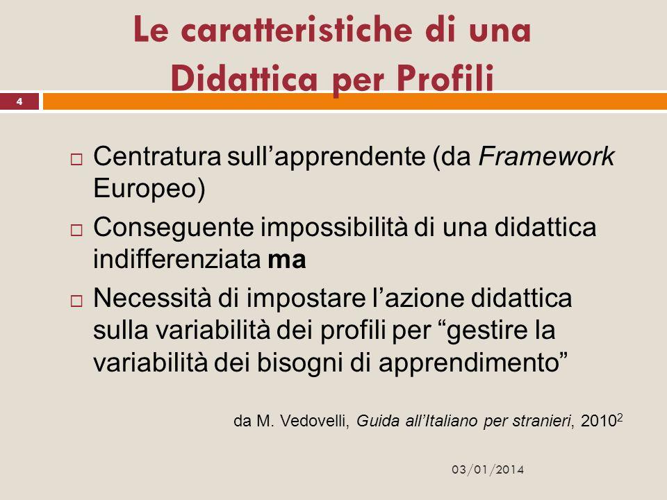 Le caratteristiche di una Didattica per Profili Centratura sullapprendente (da Framework Europeo) Conseguente impossibilità di una didattica indiffere