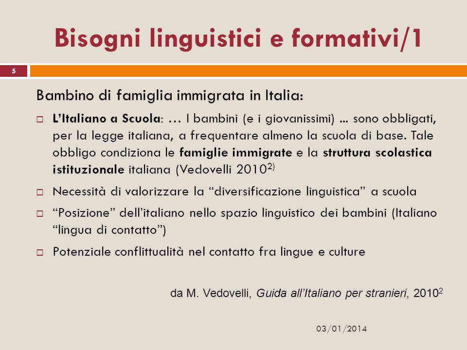 Bisogni linguistici e formativi/1 Bambino di famiglia immigrata in Italia: LItaliano a Scuola: … I bambini (e i giovanissimi)... sono obbligati, per l