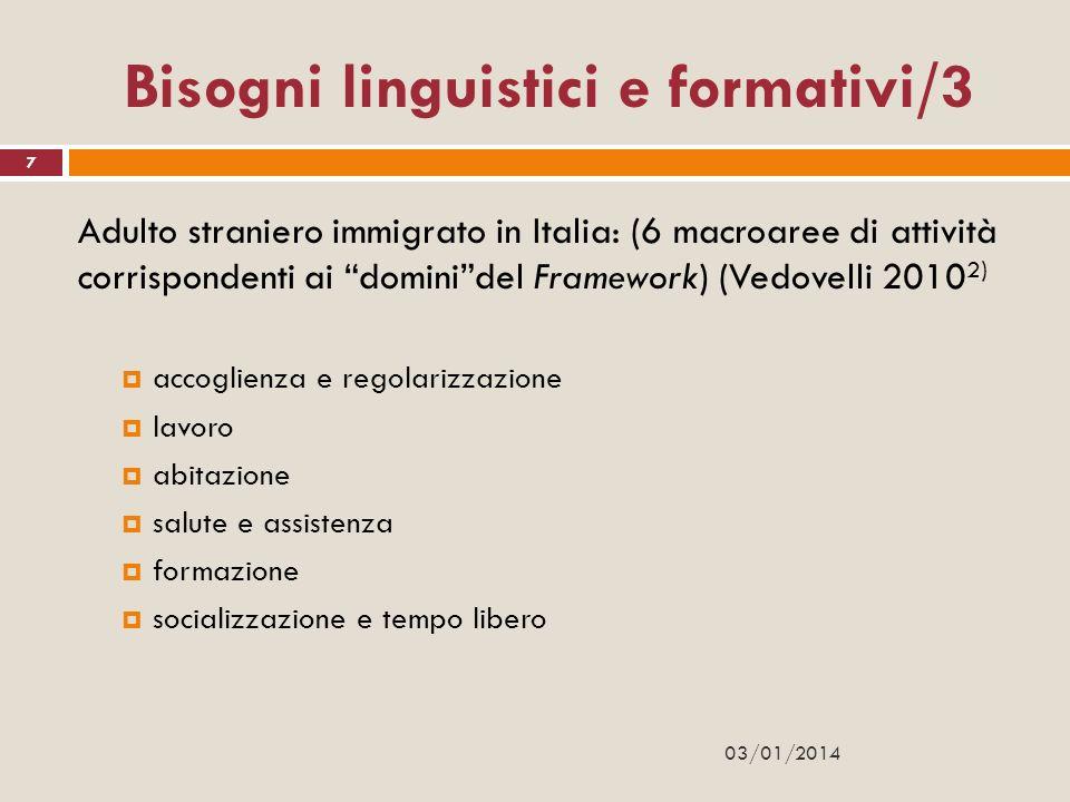 Bisogni linguistici e formativi/3 Adulto straniero immigrato in Italia: (6 macroaree di attività corrispondenti ai dominidel Framework) (Vedovelli 201