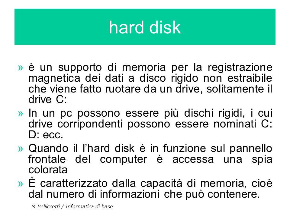 ȏ un supporto di memoria per la registrazione magnetica dei dati a disco rigido non estraibile che viene fatto ruotare da un drive, solitamente il dr