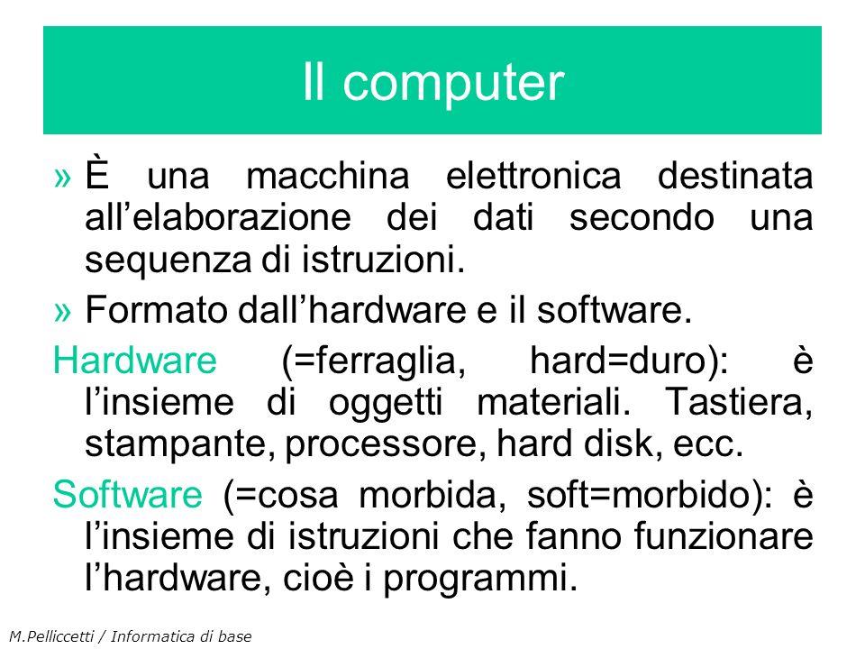 »È una macchina elettronica destinata allelaborazione dei dati secondo una sequenza di istruzioni. »Formato dallhardware e il software. Hardware (=fer