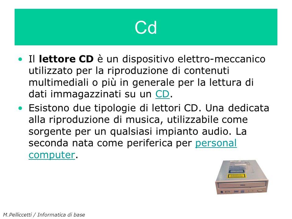 Il lettore CD è un dispositivo elettro-meccanico utilizzato per la riproduzione di contenuti multimediali o più in generale per la lettura di dati imm