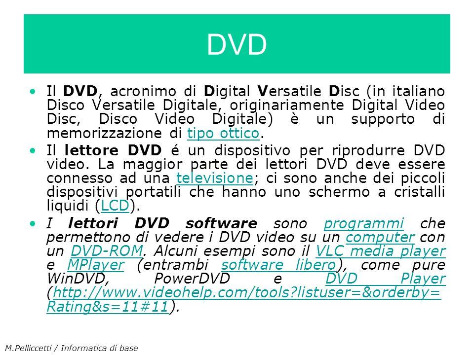 Il DVD, acronimo di Digital Versatile Disc (in italiano Disco Versatile Digitale, originariamente Digital Video Disc, Disco Video Digitale) è un suppo