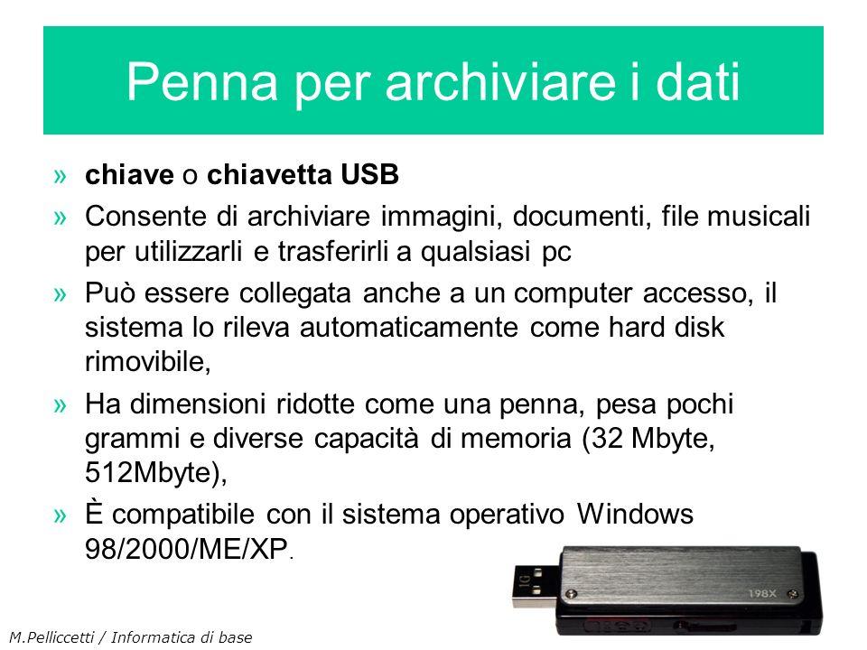 »chiave o chiavetta USB »Consente di archiviare immagini, documenti, file musicali per utilizzarli e trasferirli a qualsiasi pc »Può essere collegata