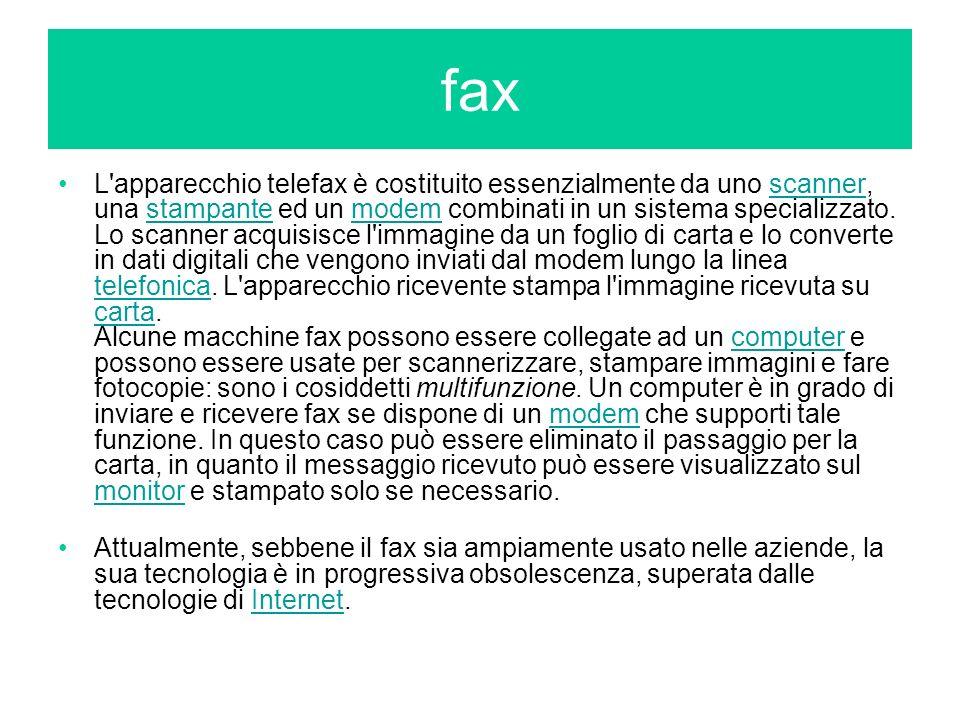 L'apparecchio telefax è costituito essenzialmente da uno scanner, una stampante ed un modem combinati in un sistema specializzato. Lo scanner acquisis