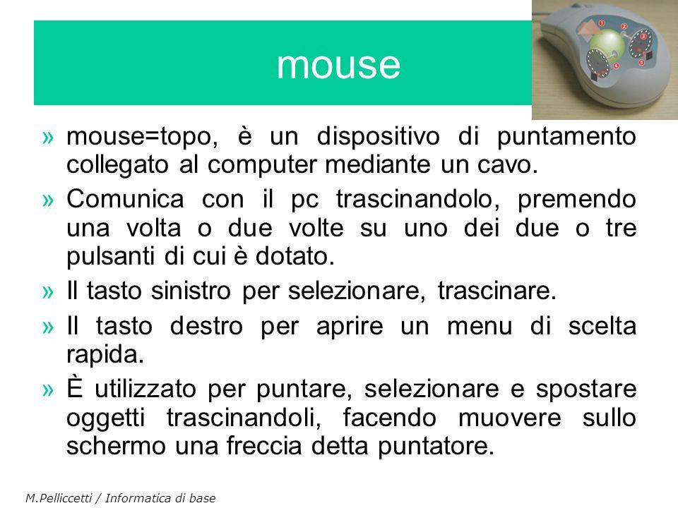 »mouse=topo, è un dispositivo di puntamento collegato al computer mediante un cavo. »Comunica con il pc trascinandolo, premendo una volta o due volte