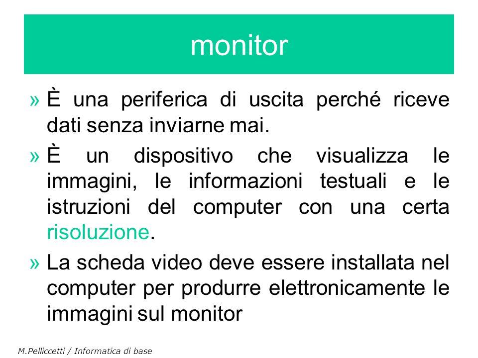 »È una periferica di uscita perché riceve dati senza inviarne mai. »È un dispositivo che visualizza le immagini, le informazioni testuali e le istruzi