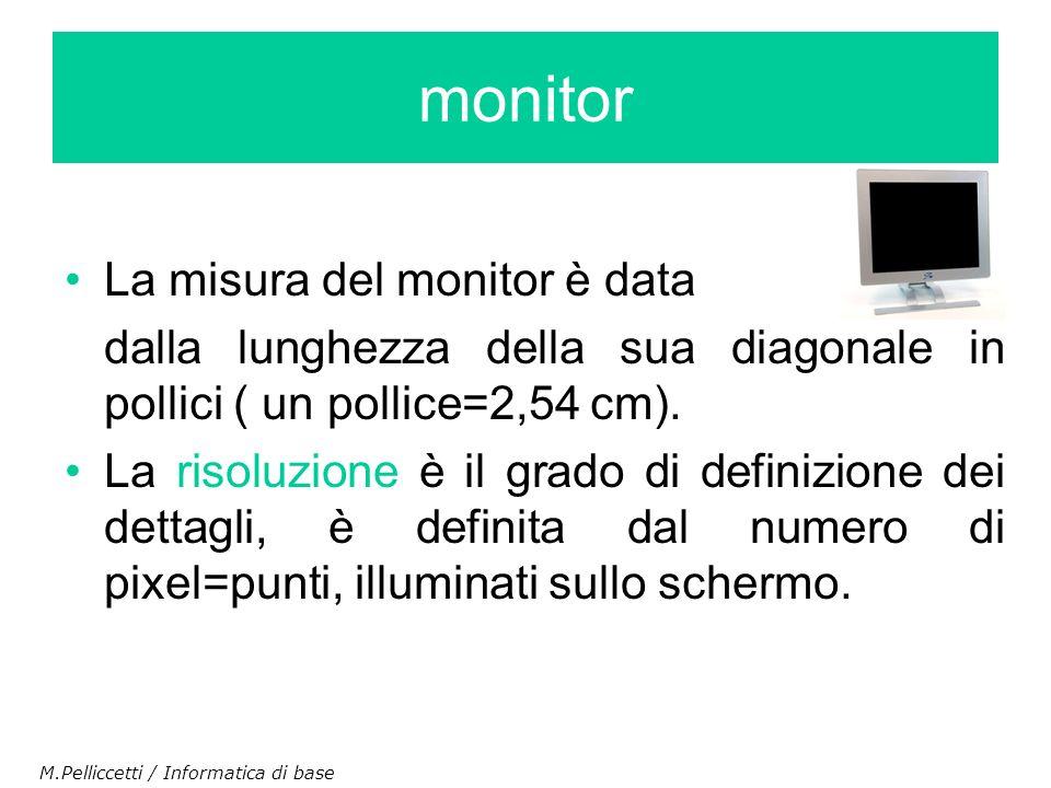 La misura del monitor è data dalla lunghezza della sua diagonale in pollici ( un pollice=2,54 cm). La risoluzione è il grado di definizione dei dettag