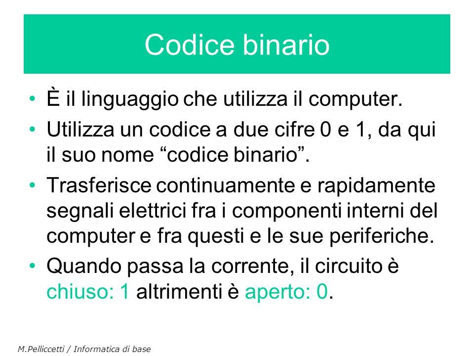 È il linguaggio che utilizza il computer. Utilizza un codice a due cifre 0 e 1, da qui il suo nome codice binario. Trasferisce continuamente e rapidam