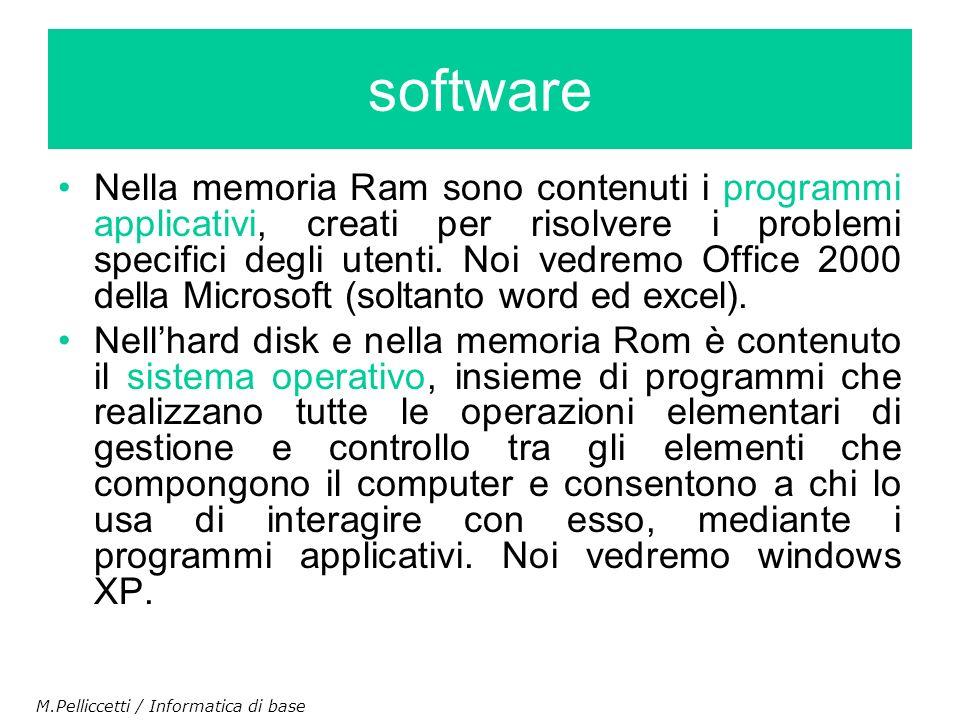 Nella memoria Ram sono contenuti i programmi applicativi, creati per risolvere i problemi specifici degli utenti. Noi vedremo Office 2000 della Micros