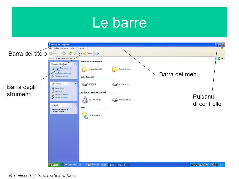 Barra del titolo Barra dei menu Barra degli strumenti Pulsanti di controllo Le barre