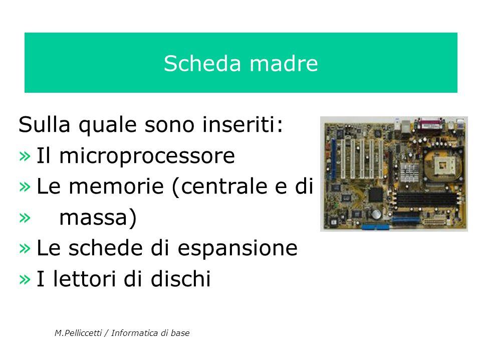 Sulla quale sono inseriti: »Il microprocessore »Le memorie (centrale e di » massa) »Le schede di espansione »I lettori di dischi M.Pelliccetti / Infor