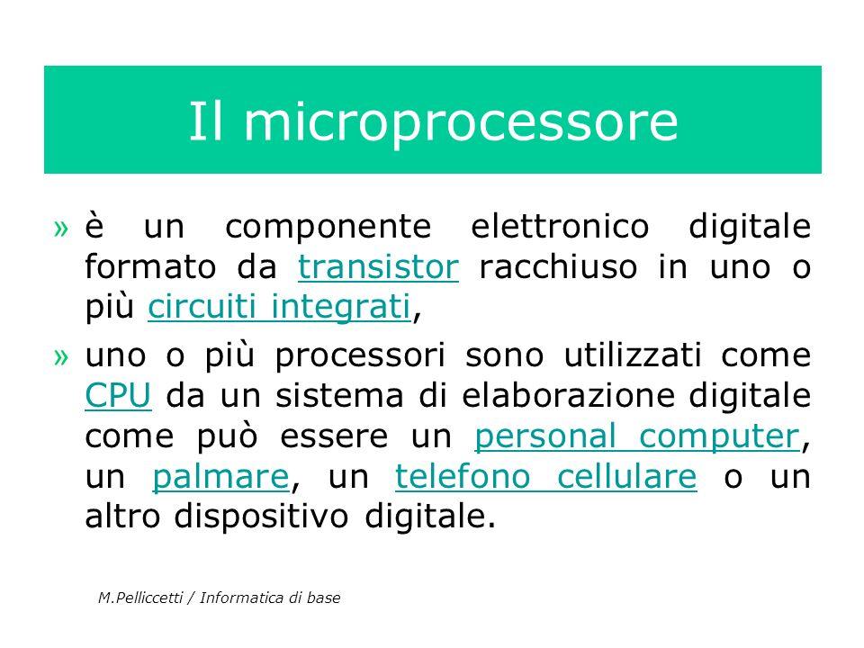 Il microprocessore » è un componente elettronico digitale formato da transistor racchiuso in uno o più circuiti integrati,transistorcircuiti integrati