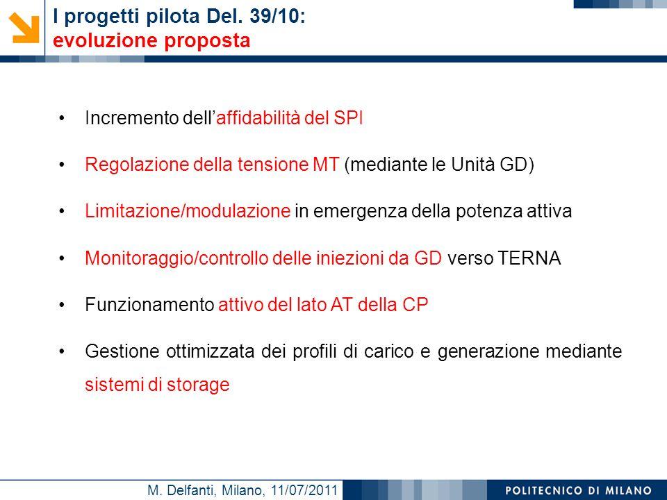 M. Delfanti, Milano, 11/07/2011 Incremento dellaffidabilità del SPI Regolazione della tensione MT (mediante le Unità GD) Limitazione/modulazione in em