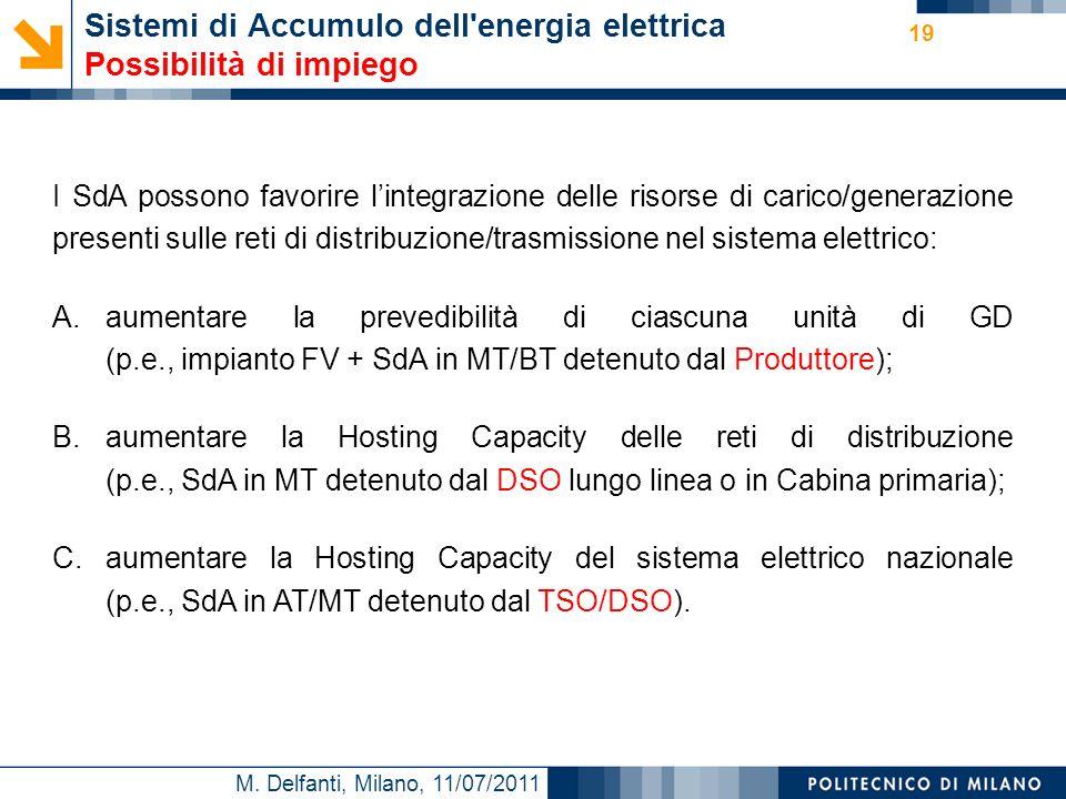M. Delfanti, Milano, 11/07/2011 19 Sistemi di Accumulo dell'energia elettrica Possibilità di impiego I SdA possono favorire lintegrazione delle risors