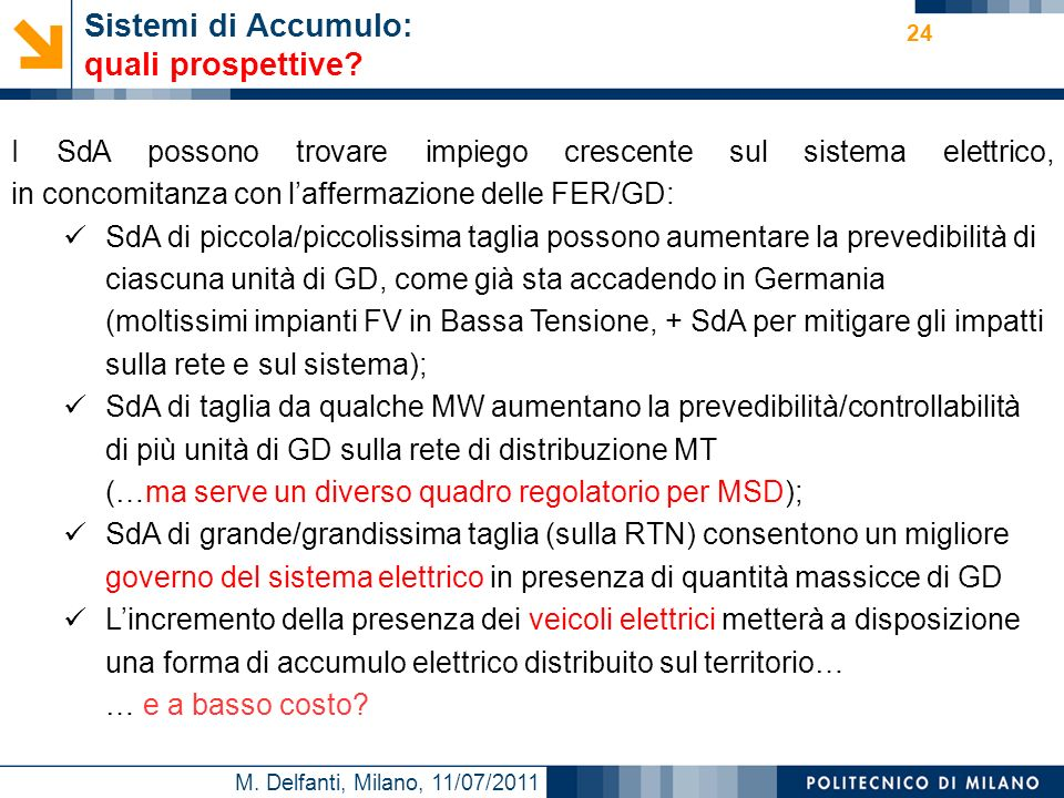 M. Delfanti, Milano, 11/07/2011 24 Sistemi di Accumulo: quali prospettive? I SdA possono trovare impiego crescente sul sistema elettrico, in concomita
