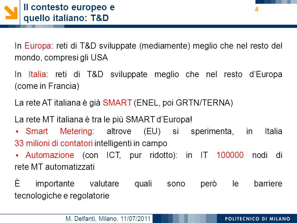M. Delfanti, Milano, 11/07/2011 Il contesto europeo e quello italiano: T&D In Europa: reti di T&D sviluppate (mediamente) meglio che nel resto del mon