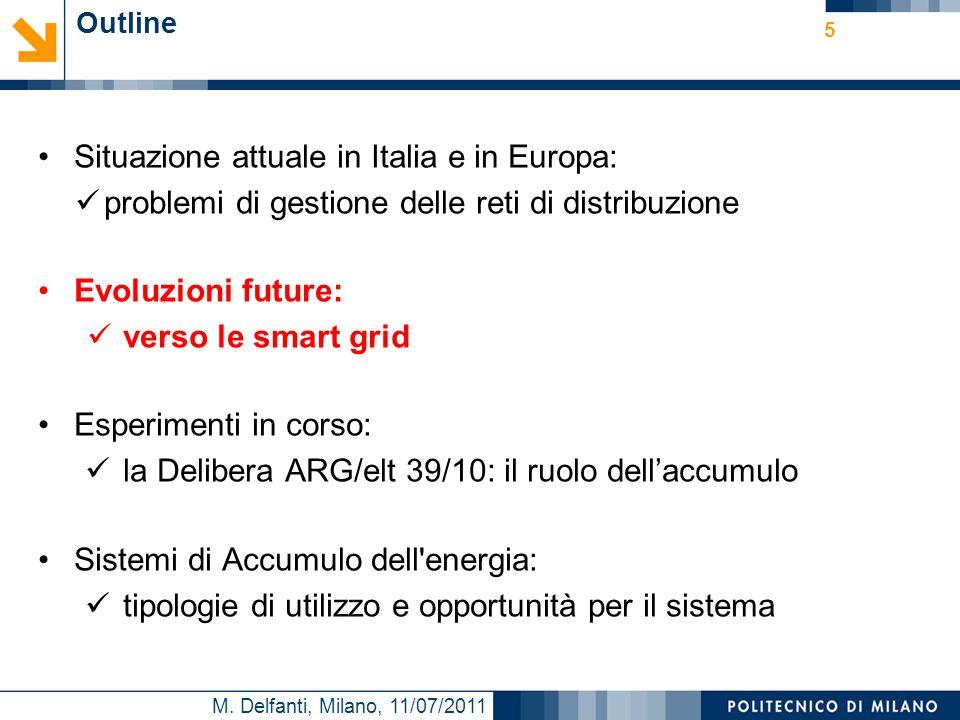 M. Delfanti, Milano, 11/07/2011 Outline Situazione attuale in Italia e in Europa: problemi di gestione delle reti di distribuzione Evoluzioni future: