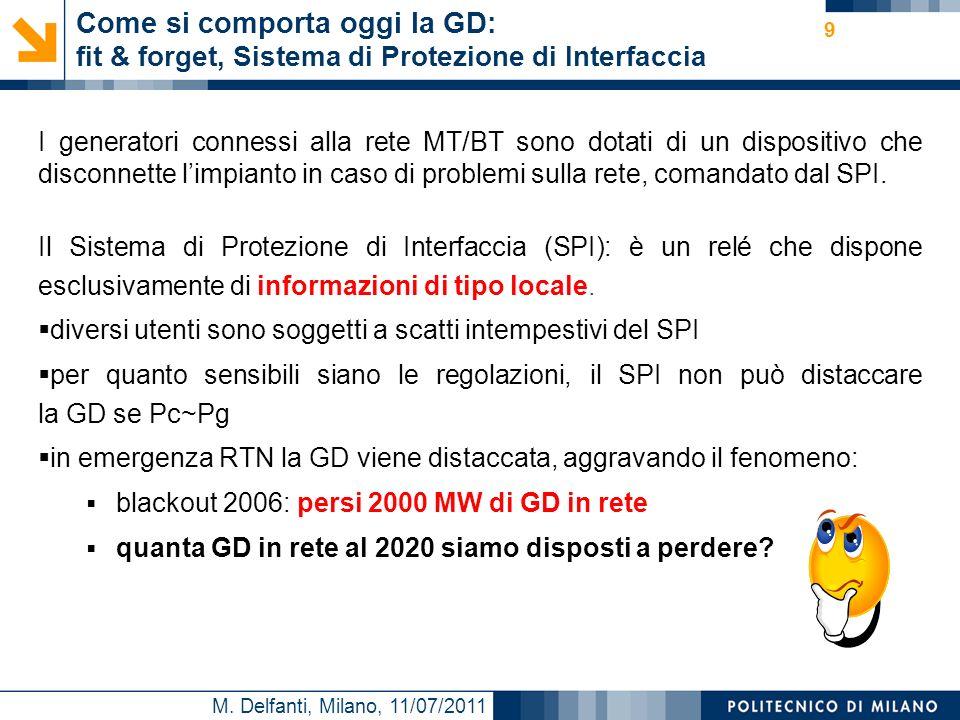 M. Delfanti, Milano, 11/07/2011 Come si comporta oggi la GD: fit & forget, Sistema di Protezione di Interfaccia I generatori connessi alla rete MT/BT