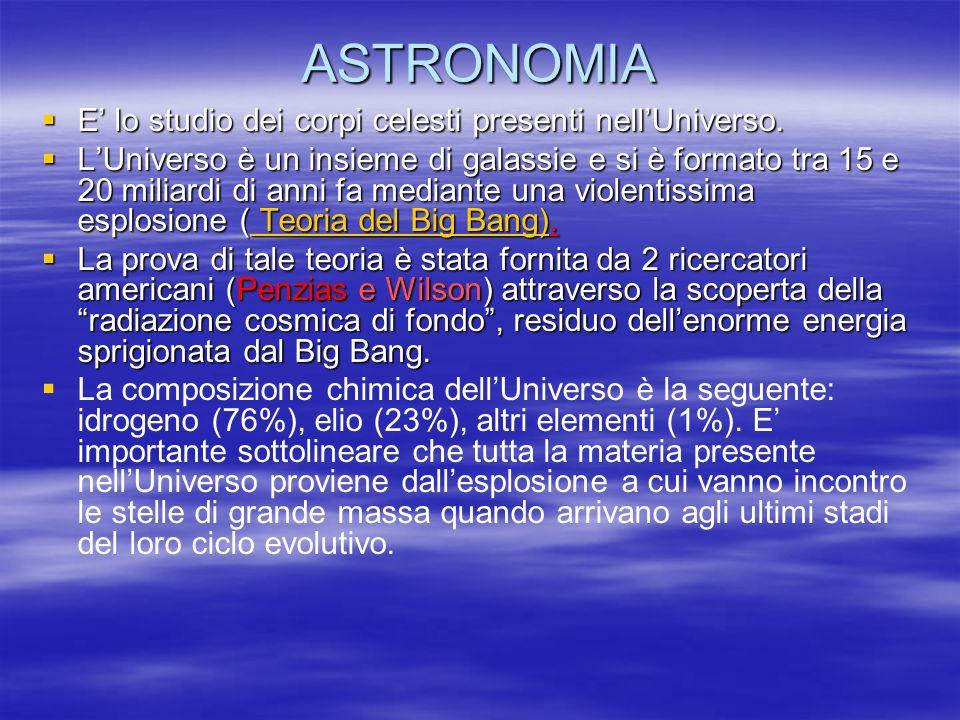 ASTRONOMIA E lo studio dei corpi celesti presenti nellUniverso.