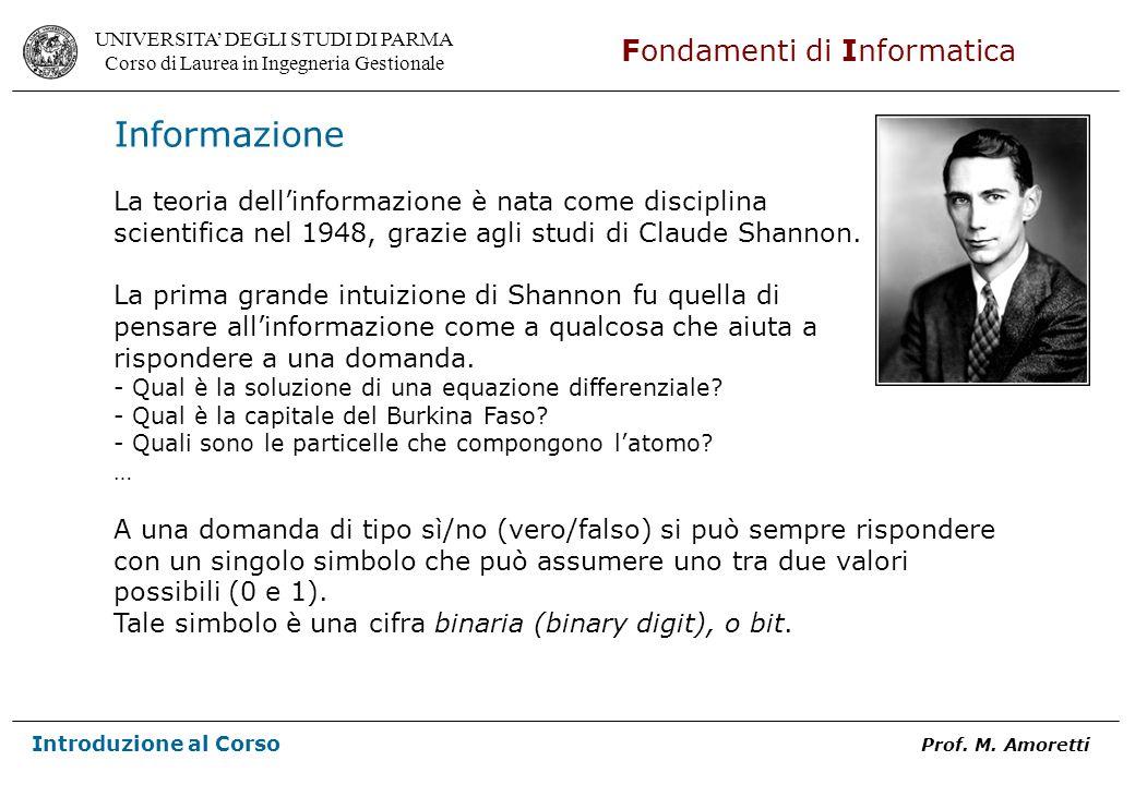 UNIVERSITA DEGLI STUDI DI PARMA Corso di Laurea in Ingegneria Gestionale Fondamenti di Informatica Introduzione al Corso Prof.