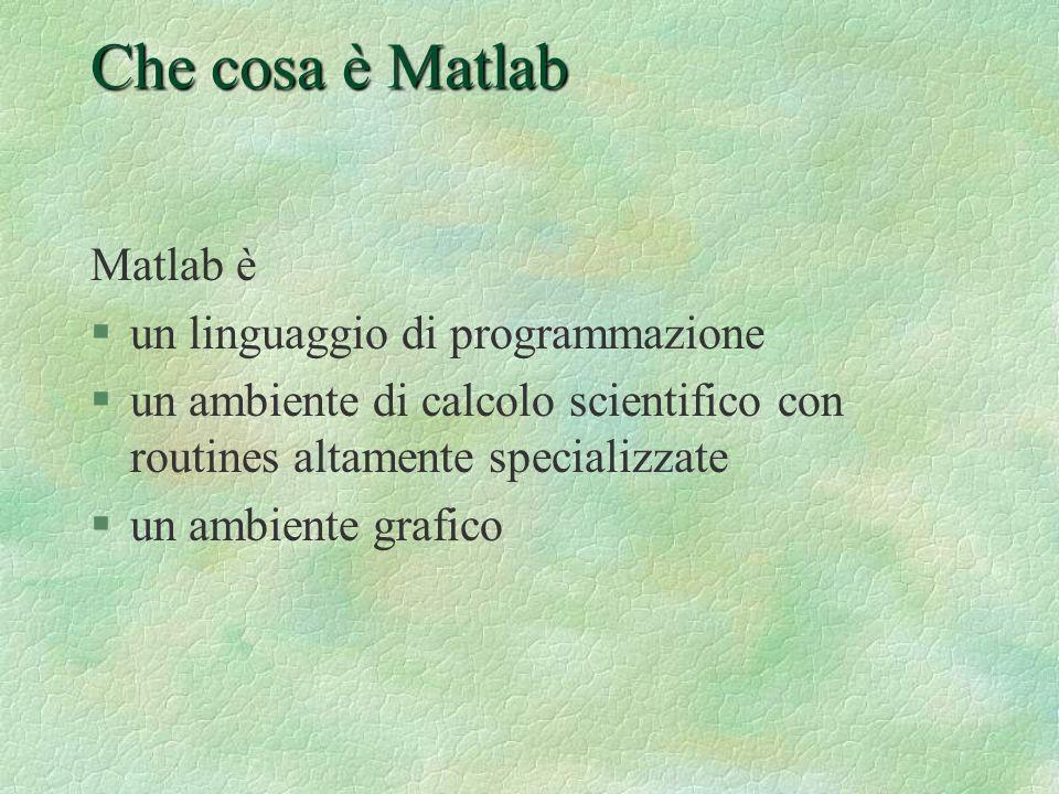 Operazioni su vettori Matlab esegue automaticamente le operazioni algebriche sulle matrici: >> a=ones(2,3); >> b=ones(2,3); >> a+b ans = 2 2 2 o anche: >> a=2*eye(2) a = 2 0 0 2