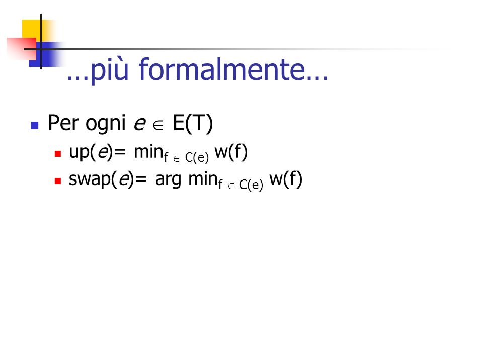 …più formalmente… Per ogni e E(T) up(e)= min f C(e) w(f) swap(e)= arg min f C(e) w(f)