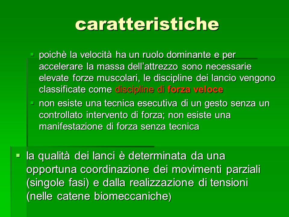 caratteristiche poichè la velocità ha un ruolo dominante e per accelerare la massa dellattrezzo sono necessarie elevate forze muscolari, le discipline