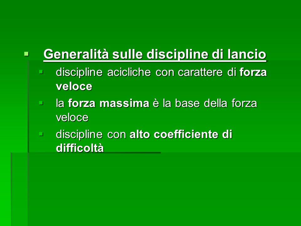 Generalità sulle discipline di lancio Generalità sulle discipline di lancio discipline acicliche con carattere di forza veloce discipline acicliche co