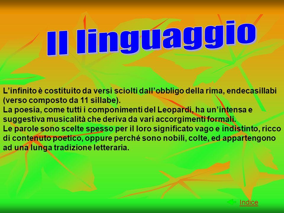 Linfinito è costituito da versi sciolti dallobbligo della rima, endecasillabi (verso composto da 11 sillabe). La poesia, come tutti i componimenti del
