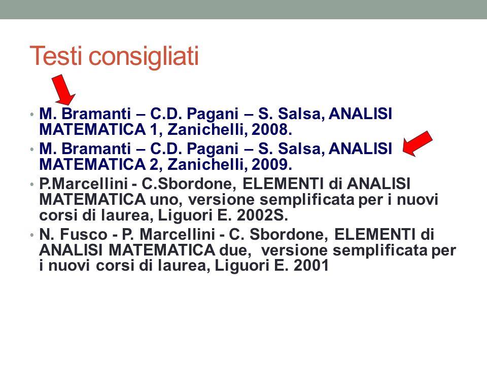 Testi consigliati M. Bramanti – C.D. Pagani – S. Salsa, ANALISI MATEMATICA 1, Zanichelli, 2008. M. Bramanti – C.D. Pagani – S. Salsa, ANALISI MATEMATI