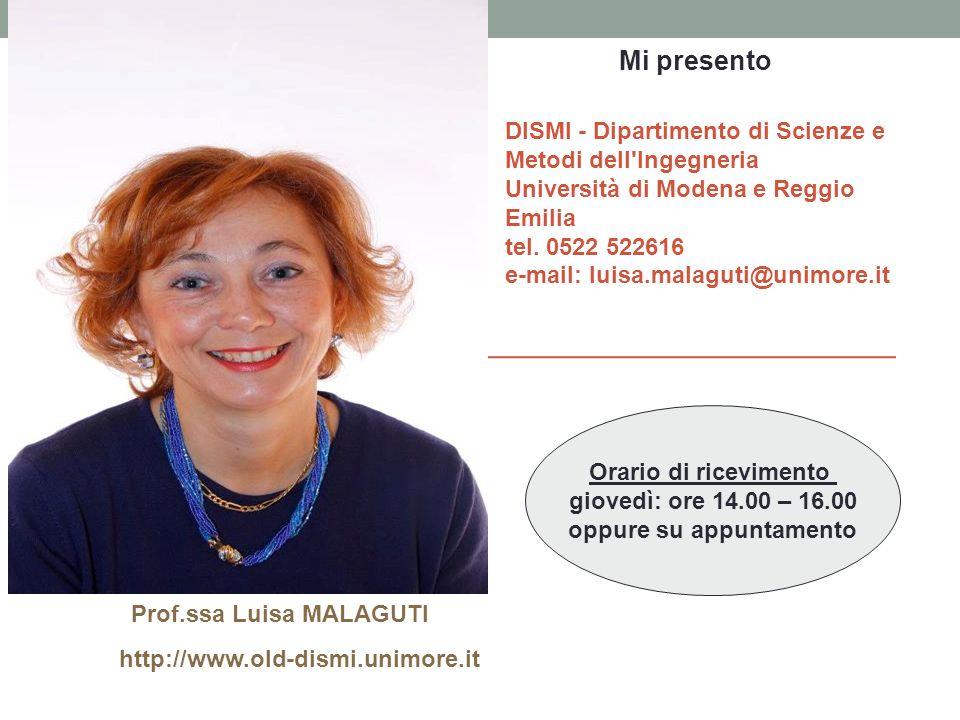 Prof.ssa Luisa MALAGUTI http://www.old-dismi.unimore.it Orario di ricevimento giovedì: ore 14.00 – 16.00 oppure su appuntamento DISMI - Dipartimento d