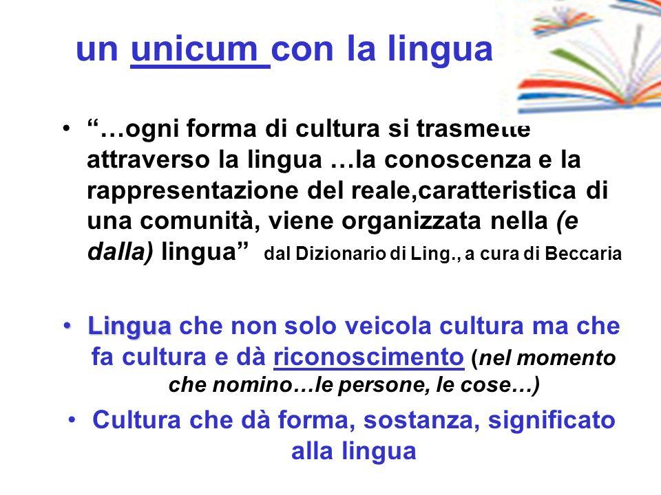 un unicum con la lingua …ogni forma di cultura si trasmette attraverso la lingua …la conoscenza e la rappresentazione del reale,caratteristica di una