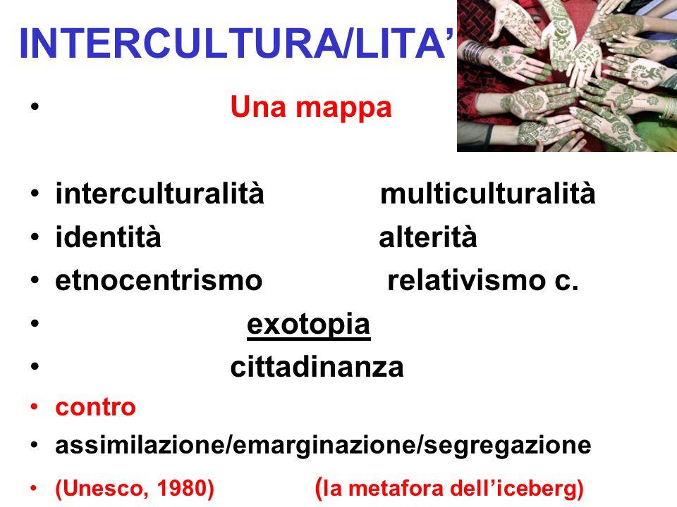 Una mappa interculturalità multiculturalità identità alterità etnocentrismo relativismo c. exotopia cittadinanza contro assimilazione/emarginazione/se