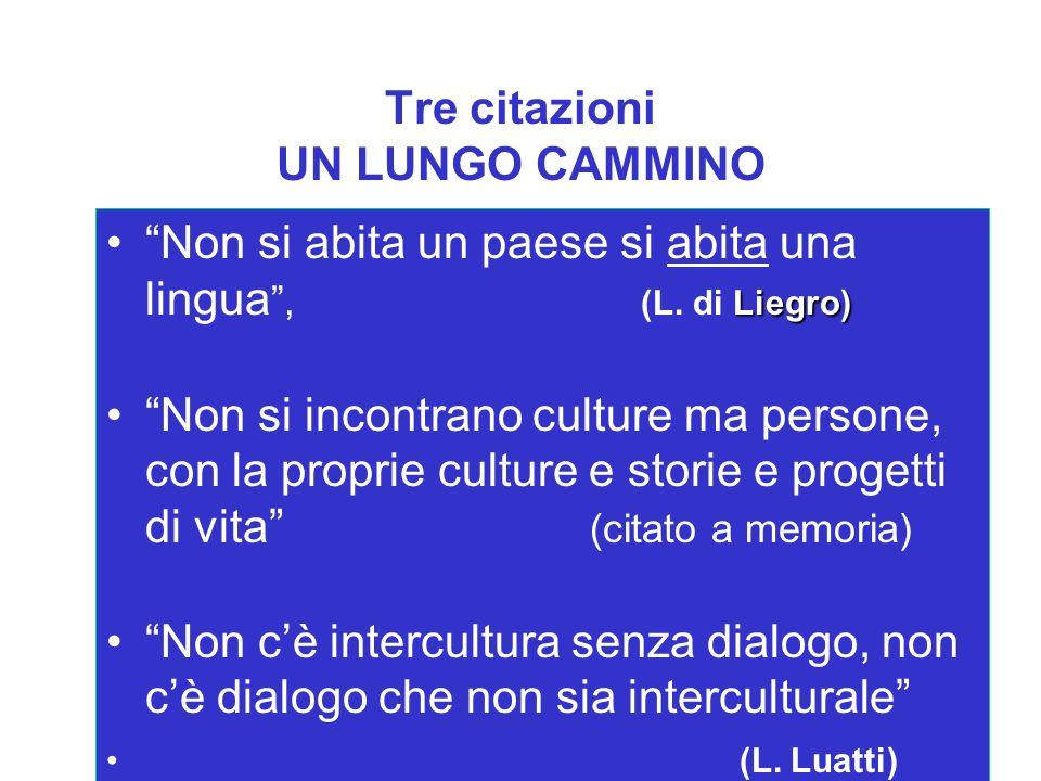Tre citazioni UN LUNGO CAMMINO Liegro)Non si abita un paese si abita una lingua, (L. di Liegro) Non si incontrano culture ma persone, con la proprie c