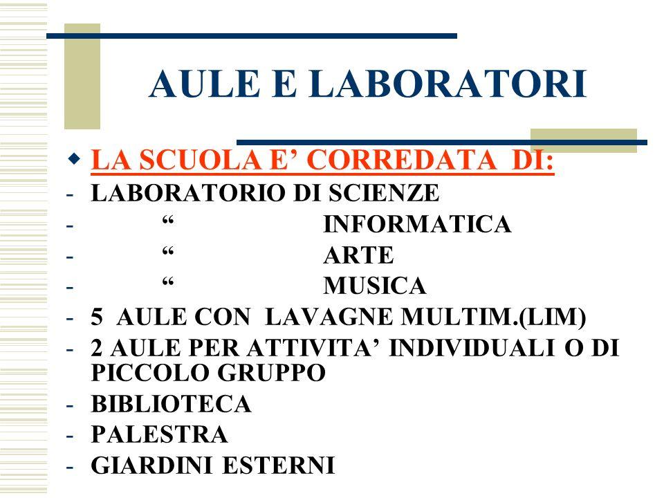 AULE E LABORATORI LA SCUOLA E CORREDATA DI: -LABORATORIO DI SCIENZE - INFORMATICA - ARTE - MUSICA -5 AULE CON LAVAGNE MULTIM.(LIM) -2 AULE PER ATTIVIT
