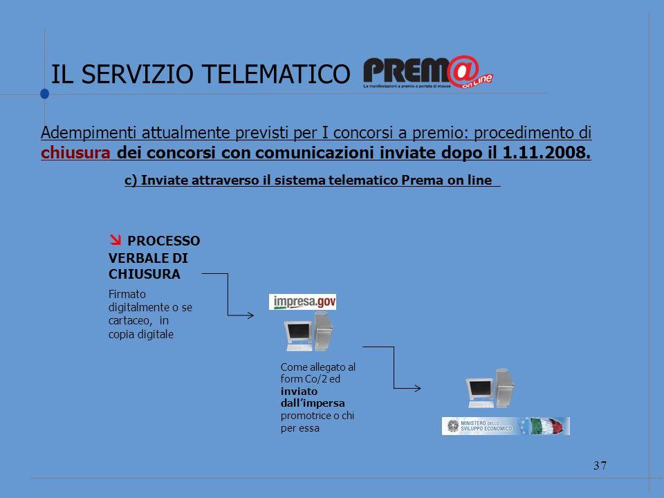 IL SERVIZIO TELEMATICO 38 REGOLAMENTO DELLA MANIFESTAZIONE COMUNICAZIONE di SVOLGIMENTO art.