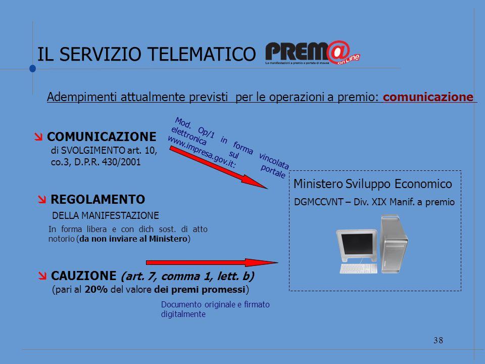 IL SERVIZIO TELEMATICO 39 EVENTUALE INTEGRAZIONE DI CAUZIONE COMUNICAZIONE DI MODIFICA art.