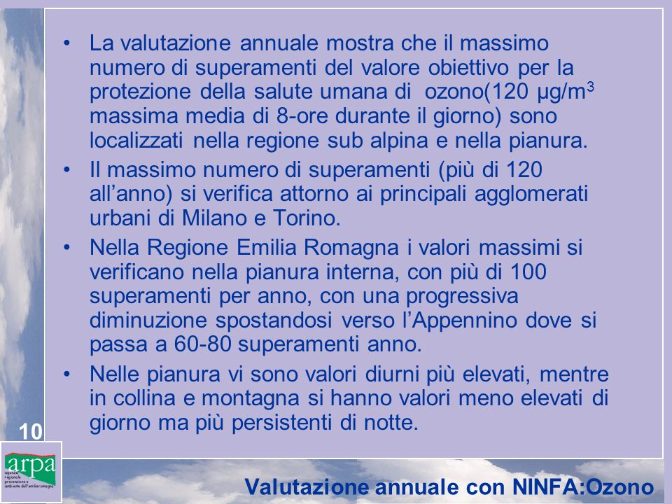 10 Valutazione annuale con NINFA:Ozono La valutazione annuale mostra che il massimo numero di superamenti del valore obiettivo per la protezione della