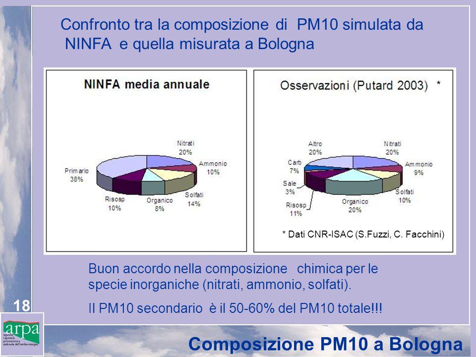 18 Composizione PM10 a Bologna Confronto tra la composizione di PM10 simulata da NINFA e quella misurata a Bologna * Dati CNR-ISAC (S.Fuzzi, C. Facchi