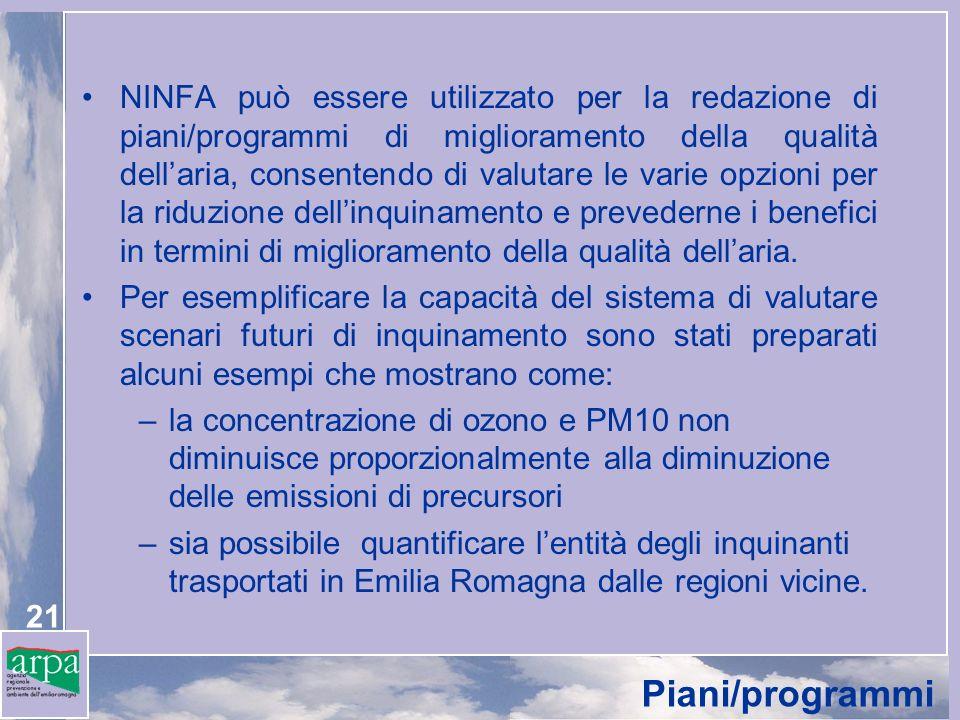 21 Piani/programmi NINFA può essere utilizzato per la redazione di piani/programmi di miglioramento della qualità dellaria, consentendo di valutare le