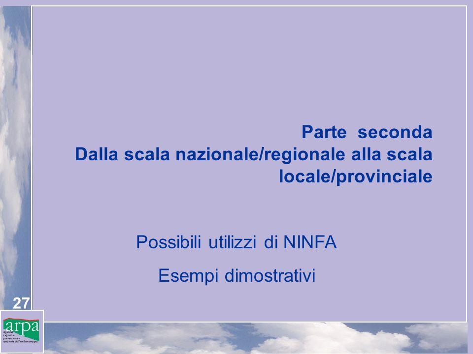 27 Parte seconda Dalla scala nazionale/regionale alla scala locale/provinciale Possibili utilizzi di NINFA Esempi dimostrativi
