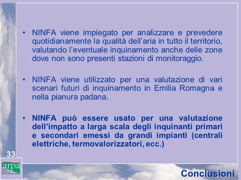 33 NINFA viene impiegato per analizzare e prevedere quotidianamente la qualità dellaria in tutto il territorio, valutando leventuale inquinamento anche delle zone dove non sono presenti stazioni di monitoraggio.