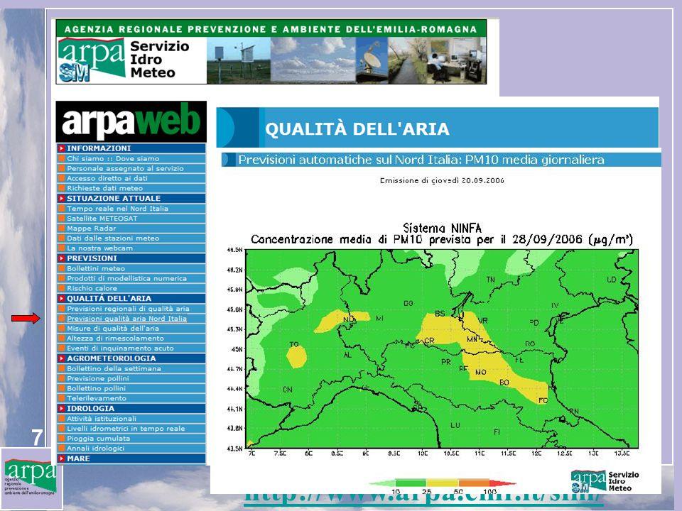 28 NINFA a 5 km risoluzione È disponibile una versione ad alta risoluzione (5*5 km) di NINFA su Emilia Romagna, annidata allinterno del dominio Nord Italia